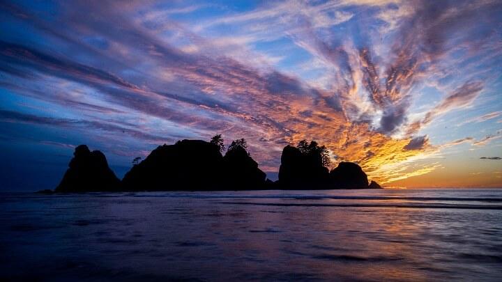 Shi-Shi-Beach-puesta-de-sol